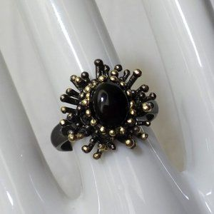 Black Opal Sterling Silver Ring/Black Rhodium Gold